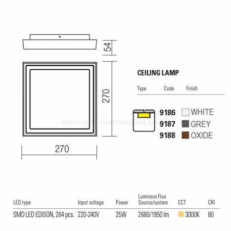 Plafón de techo Bezel LED 25w IP54 info - Redo