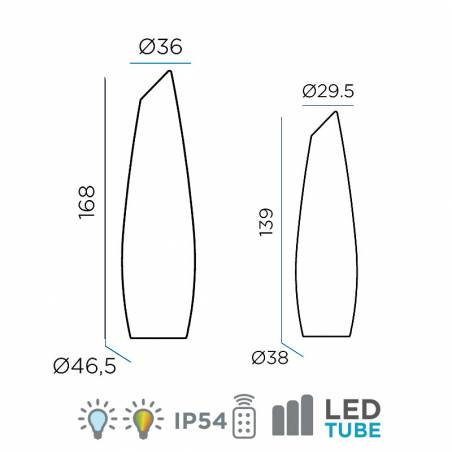 NEWGARDEN Fredo LED RGB battery floor lamp size