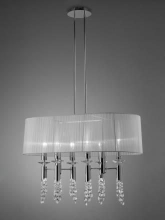 Lampara colgante Tiffany 1 pantalla oval cromo de Mantra