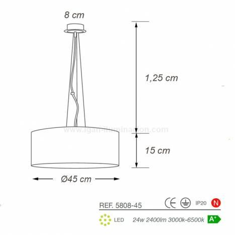 Lámpara colgante Wood LED + mando Ø45cm info - Ilusoria
