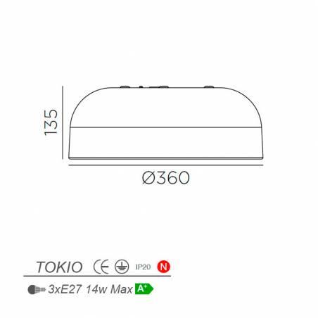 MDC Tokio 3L E27 IP44 wood ceiling lamp dimensions