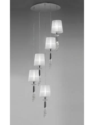 Lampara colgante Tiffany 5 pantallas cromo de Mantra