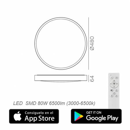 Plafón de techo Asli App LED + mando info - MDC