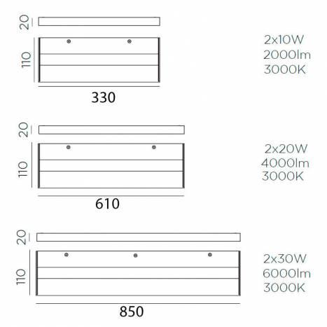 MDC Thina LED IP44 bathroom nickel wall lamp dimensions