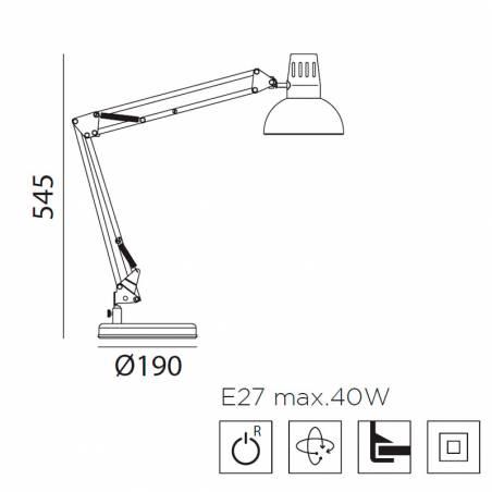 MDC Artic E27 base + gripper flexo lamp dimensions