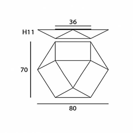 Plafón de techo Clone 80cm 4L E27 info - Ole