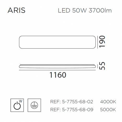 MDC Aris LED 50w ceiling lamp dimensions