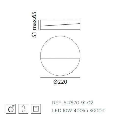 Aplique de pared Gir LED 10w giratorio info MDC