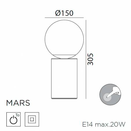 MDC Mars E14 touch switch matt gold table lamp dimensions