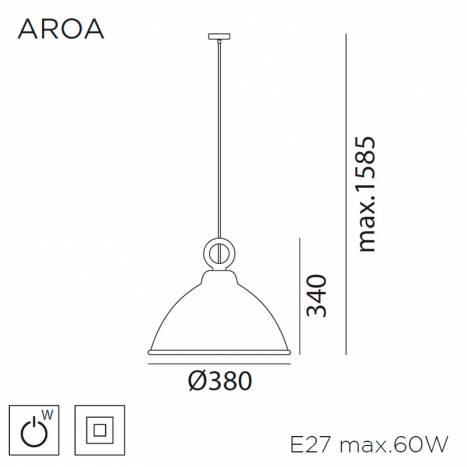 MDC Aroa E27 wood pendant lamp dimensions