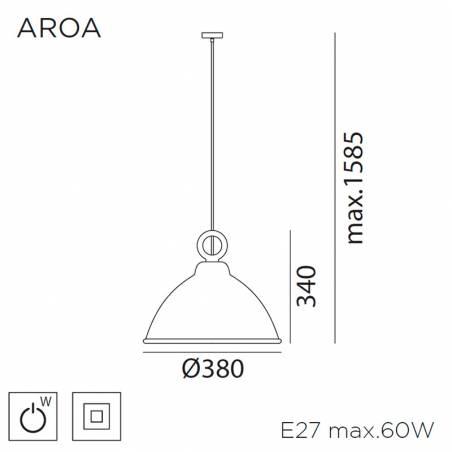 Lámpara colgante Aroa E27 madera info - MDC