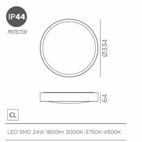 MDC Asli IP44 LED 24w ceiling lamp dimensions