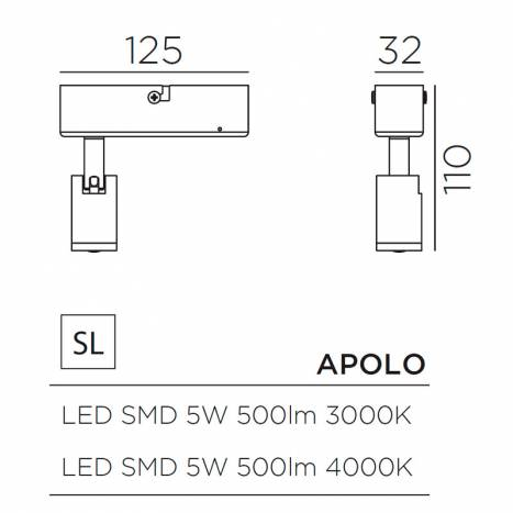 MDC Apolo LED 5w IP44 surface spotlight dimensions
