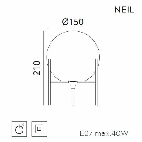 MDC Neil E27 glass table lamp dimensions