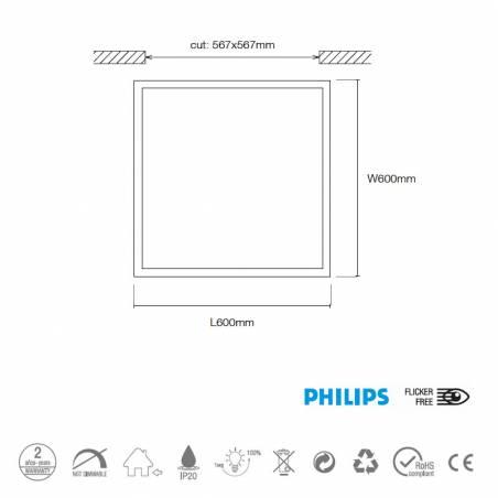 Panel de techo LED 45w 60x60 Star Line Plus info - Maslighting