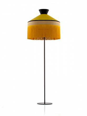 ILUSORIA Pamela 1L E27 sack fabric gold floor lamp