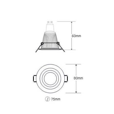 MASLIGHTING Zamack round recessed light LED 6w chrome