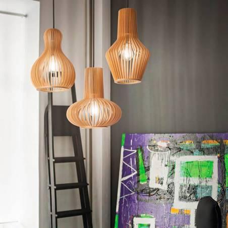 IDEAL LUX Citrus E27 models wood pendant lamp ambient