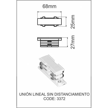 Three phase track lineal union 68mm white