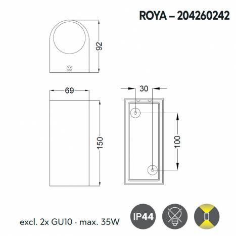 TRIO Roya 2L GU10 IP44 round wall lamp info