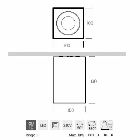 ONOK Ringo Box 1 GU10 Surface light info