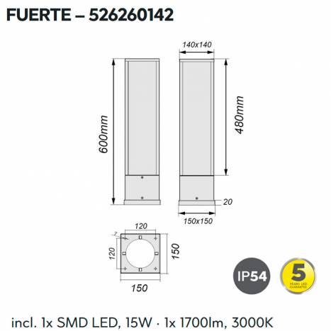 TRIO Fuerte 60cm LED 15w anthracite beacon lamp info