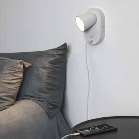 FARO Corb GU10 + USB wall lamp white