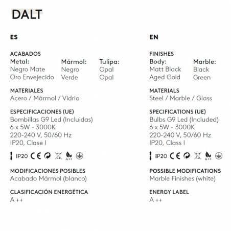 AROMAS Dalt 6L marble pendant lamp info 1