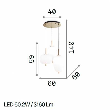 IDEAL LUX Umile LED 3L glass pendant lamp info