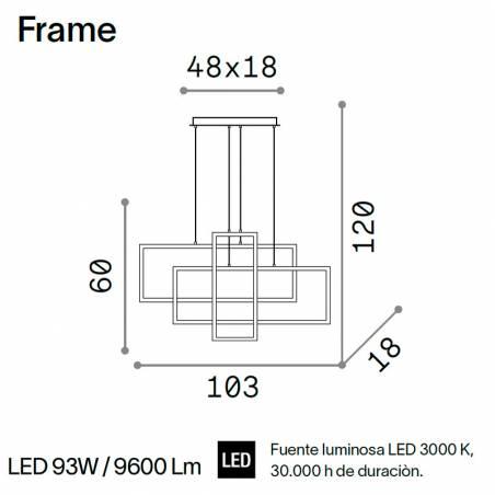 IDEAL LUX Frame LED pendant lamp rectangular info