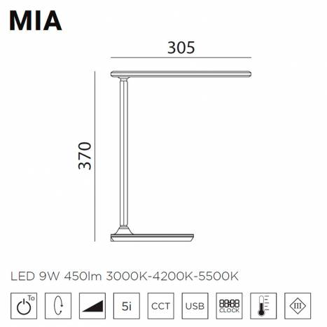 MDC Mia LED 9w dimmable reading lamp info
