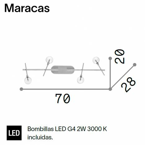IDEAL LUX Maracas LED 4L G9 info ceiling lamp