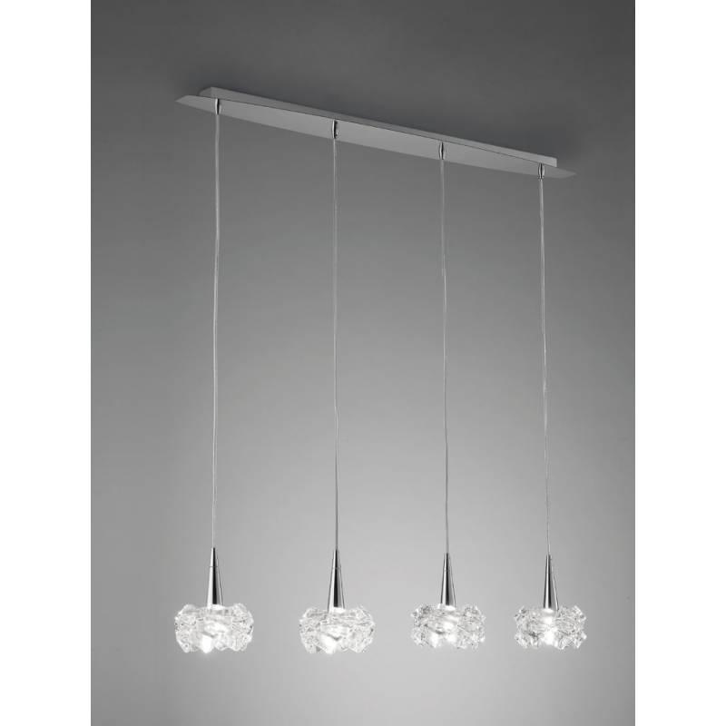 L mpara colgante artic 4 luces g9 cristal mantra for Lamparas de bombillas colgantes