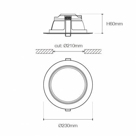 Downlight LED Easy 25w 2250lm blanco info - Maslighting