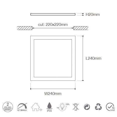 MASLIGHTING Downlight LED 25w 2200lm square white