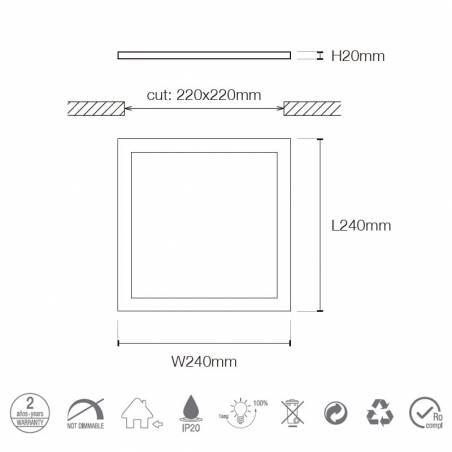 Downlight LED 25w 2200lm cuadrado blanco - Maslighting