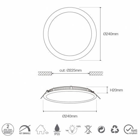 MASLIGHTING Downlight LED 20w 1800lm round grey