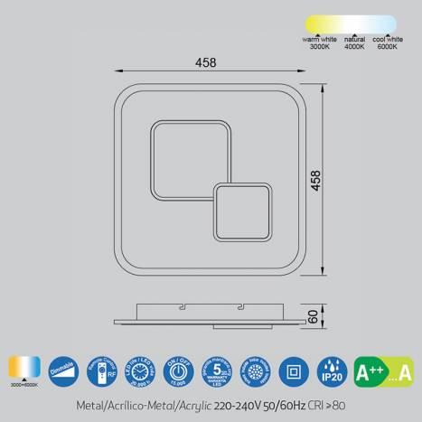 MANTRA Quad 50w LED ceiling lamp + remote info