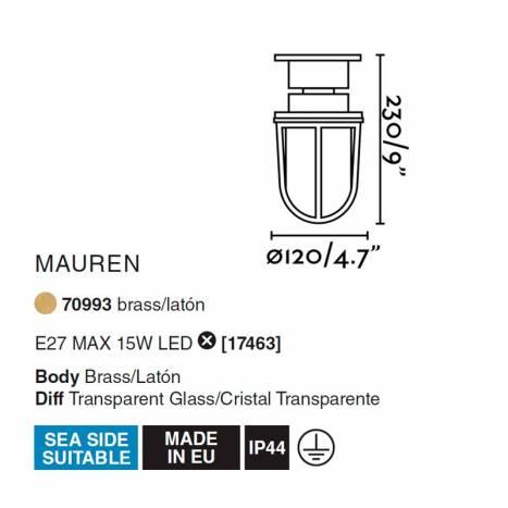 FARO Mauren E27 IP44 brass ceiling/bollard info