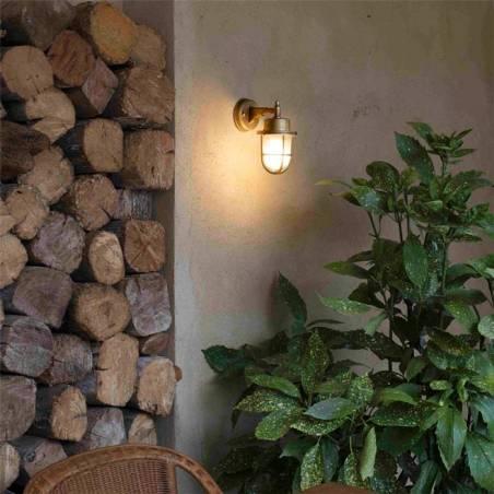 FARO Nahir E27 IP44 brass wall lamp ambient