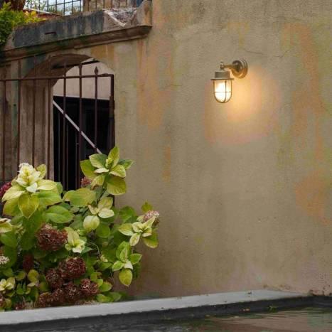 FARO Nahir E27 IP44 brass wall lamp ambient 1