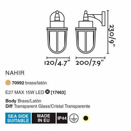 FARO Nahir E27 IP44 brass wall lamp info