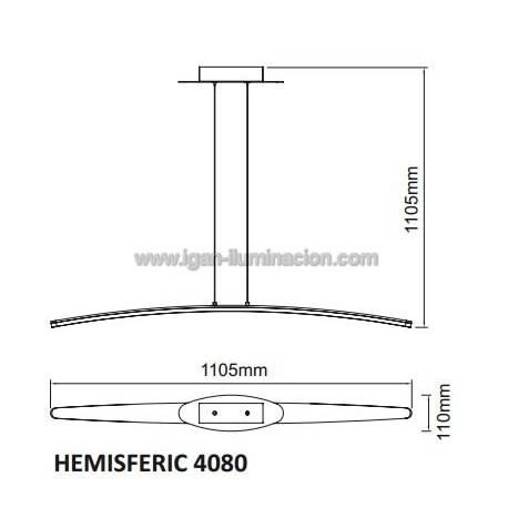 Lampara colgante Hemisferic LED 28w de Mantra