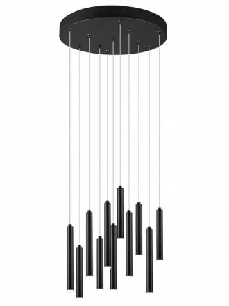 TRIO Tubular LED 28w circular black pendant lamp