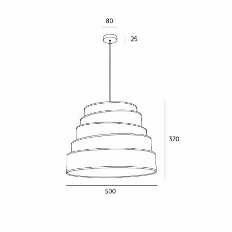 Lámpara colgante Blur 1L E27 tela blanca - Massmi