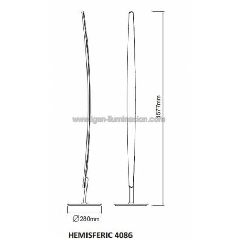Mantra Hemisferic floor lamp LED 20w dimmable aluminium