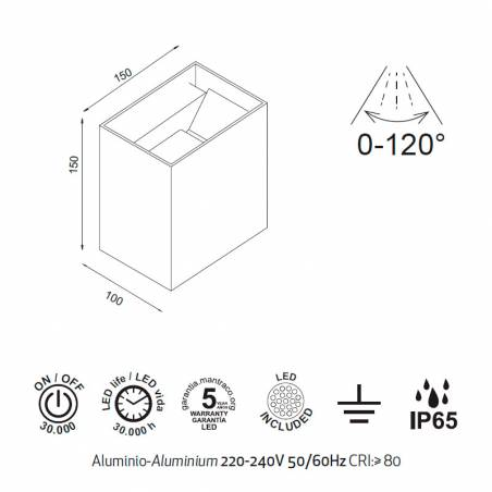 MANTRA Davos XL LED 20w IP65 wall lamp info