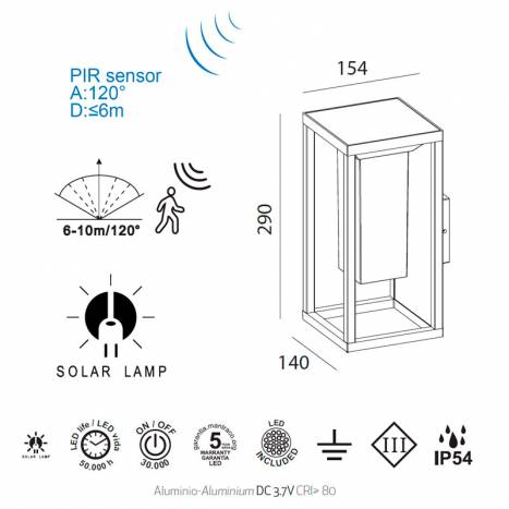 MANTRA Meribel LED solar sensor wall lamp info