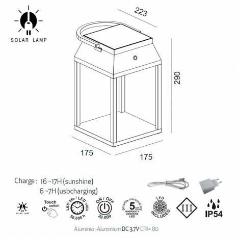 MANTRA Sapporo 29cm LED solar + USB portable lamp info