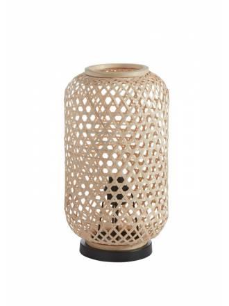 Lámpara de mesa India E27 bambú natural - MDC